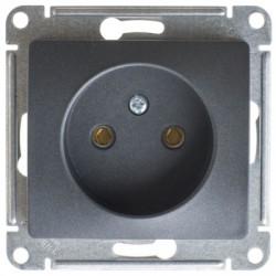 Schneider Electric Розетка без заземления антрацит Glossa