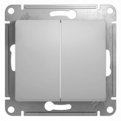 Schneider Electric Выключатель двухклавишный алюминий Glossa