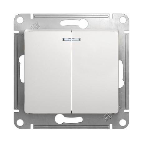 Schneider Electric Выключатель двухклавишный с подсветкой белый Glossa