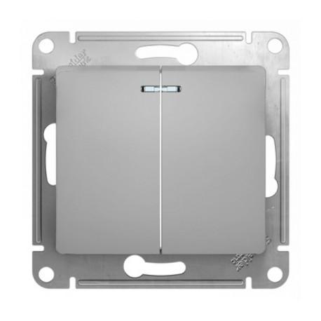 Schneider Electric Выключатель двухклавишный с подсветкой алюминий Glossa