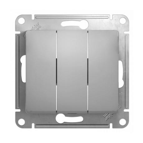 Schneider Electric Выключатель трехклавишный алюминий Glossa