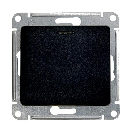 Schneider Electric Выключатель одноклавишный проходной с подсветкой антрацит Glossa