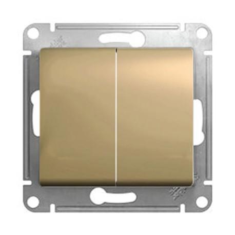 Schneider Electric Выключатель двухклавишный проходной титан Glossa