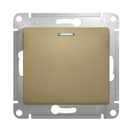 Schneider Electric Кнопка нажимная с подсветкой титан Glossa