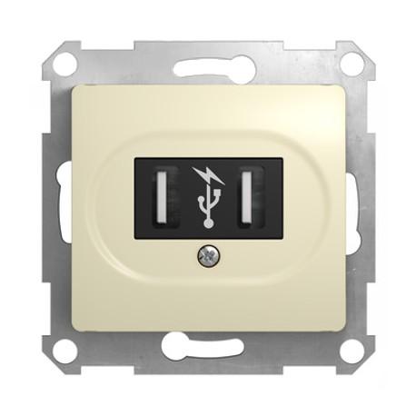 Schneider Electric Розетка USB 5В 2х700мА/1х1400мА бежевый Glossa