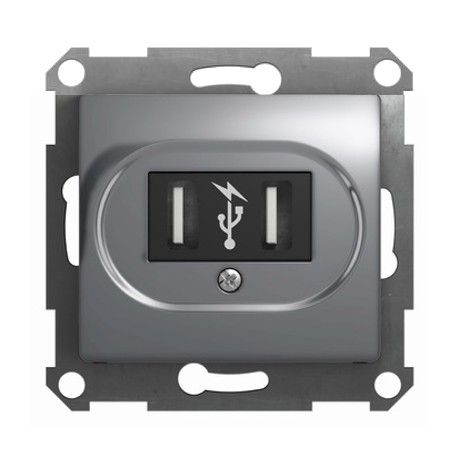 Schneider Electric USB 5В 2х700мА/1х1400мА алюминий Glossa