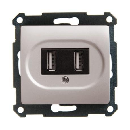 Schneider Electric Розетка USB 5В 2х700мА/1х1400мА перламутровый Glossa