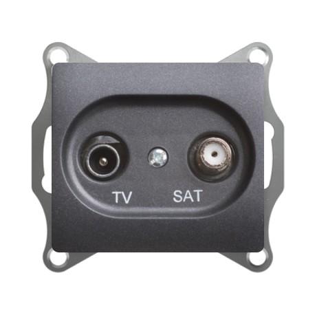 Schneider Electric Розетка TV/SAT оконечная 1 dB антрацит Glossa