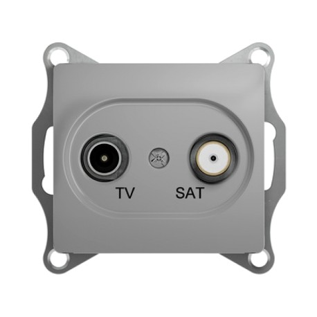 Schneider Electric Розетка TV/SAT проходная 4 dB алюминий Glossa