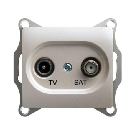 Schneider Electric Розетка TV/SAT проходная 4 dB перламутровый Glossa
