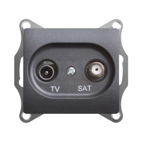 Schneider Electric Розетка TV/SAT проходная 4 dB антрацит Glossa