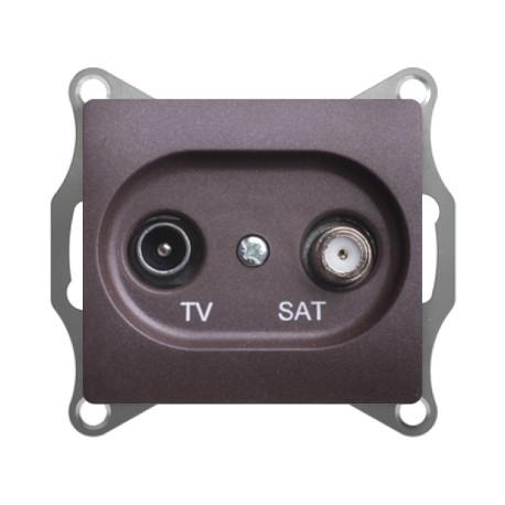 Schneider Electric Розетка TV/SAT проходная 4 dB шоколад Glossa