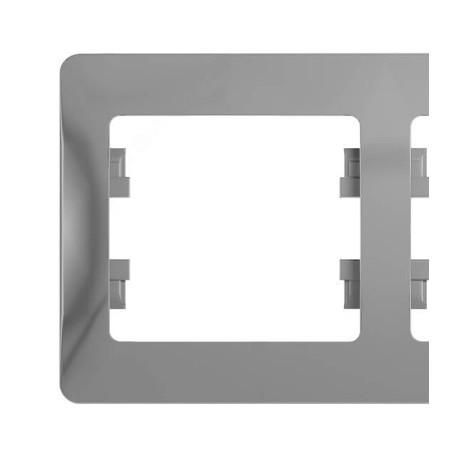 Schneider Electric Рамка горизонтальная 2 поста алюминий Glossa
