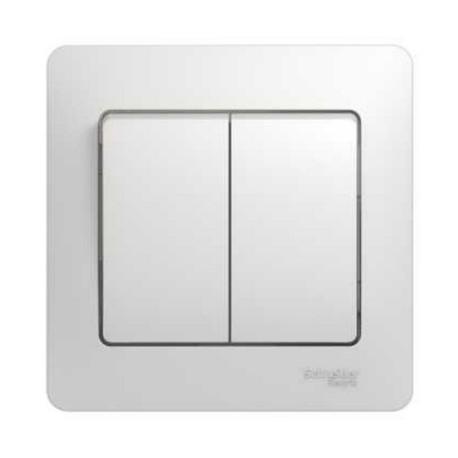 Schneider Electric Выключатель в сборе двухклавишный белый Glossa