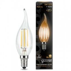 Gauss лампа светодиодная филаментовая 240V Е14 5W 2700K
