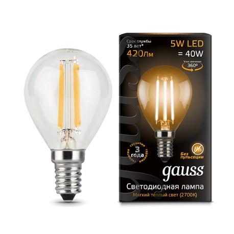 Gauss лампа светодиодная 240V Е14 5W 2700K