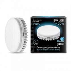 Gauss лампа светодиодная 240V GX53 8W 4100K