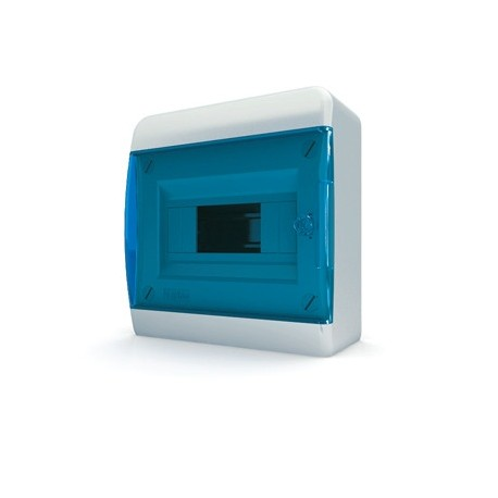 Бокc Tekfor на 8 модулей навесной IP41 прозрачная синяя дверца