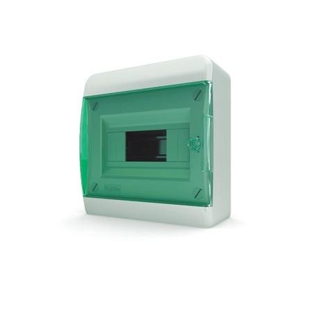 Бокc Tekfor на 8 модулей навесной IP41 прозрачная зеленая дверца