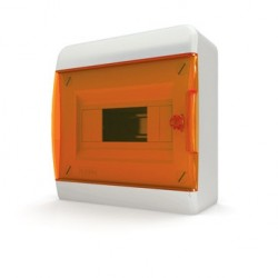 Бокc Tekfor на 8 модулей навесной IP41 прозрачная оранжевая дверца