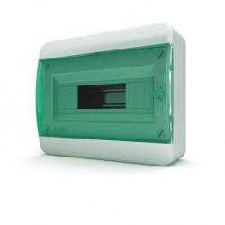 Бокc Tekfor на 12 модулей навесной IP41 прозрачная зеленая дверца