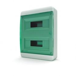 Бокc Tekfor на 24 модуля навесной IP41 прозрачная зеленая дверца