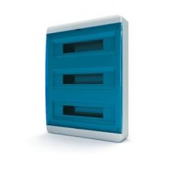 Бокc Tekfor на 54 модуля навесной IP41 прозрачная синяя дверца