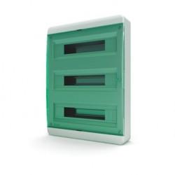 Бокc Tekfor на 54 модуля навесной IP41 прозрачная зеленая дверца