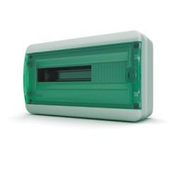 Бокc Tekfor на 18 модулей навесной IP65 прозрачная зеленая дверца