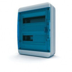 Бокc Tekfor на 24 модуля навесной IP65 прозрачная синяя дверца