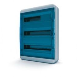Бокc Tekfor на 54 модуля навесной IP65 прозрачная синяя дверца