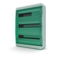 Бокc Tekfor на 54 модуля навесной IP65 прозрачная зеленая дверца