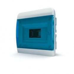 Бокc Tekfor на 8 модулей встраиваемый IP41 прозрачная синяя дверца