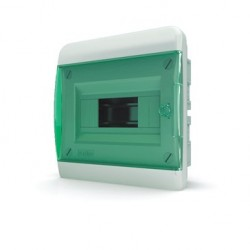 Бокc Tekfor на 8 модулей встраиваемый IP41 прозрачная зеленая дверца