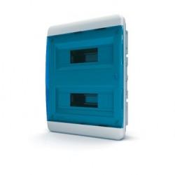 Бокc Tekfor на 24 модуля встраиваемый IP41 прозрачная синяя дверца