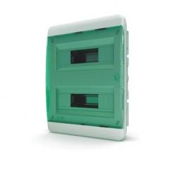 Бокc Tekfor на 24 модуля встраиваемый IP41 прозрачная зеленая дверца