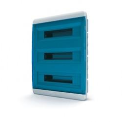 Бокc Tekfor на 54 модуля встраиваемый IP41 прозрачная синяя дверца