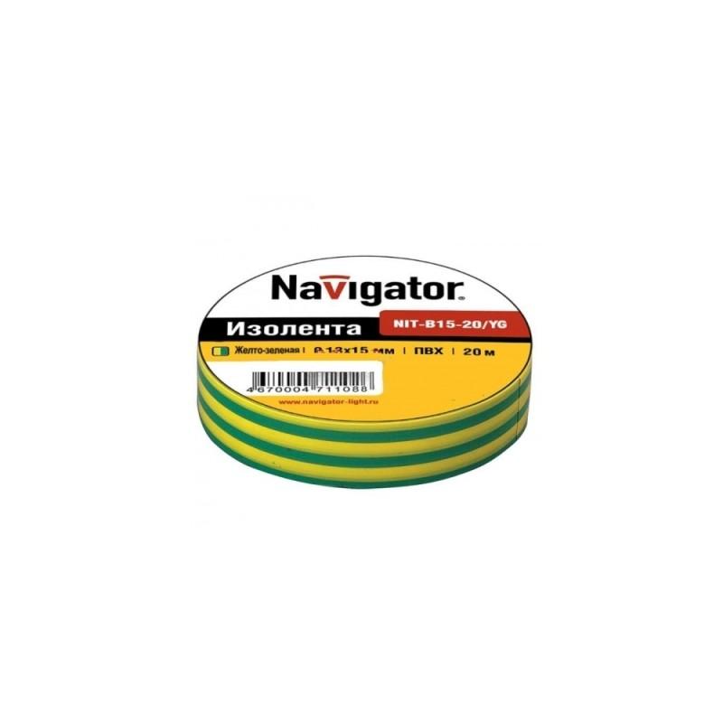 Изолента Navigator 71108 NIT-B15-20/YG (блок 10шт)