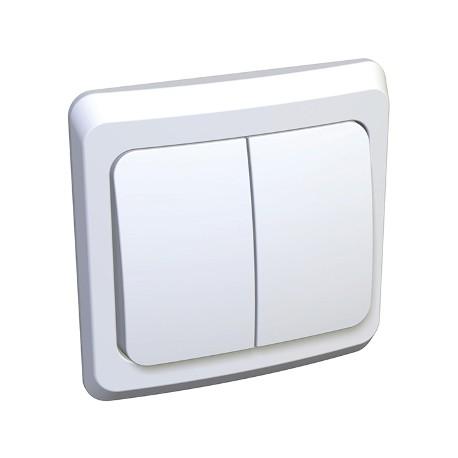 Schneider Electric Выключатель двухклавишный белый Этюд