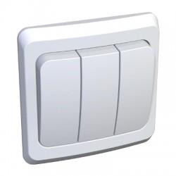 Schneider Electric Выключатель трехклавишный белый Этюд