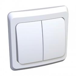 Schneider Electric Выключатель с подсветкой двухклавишный белый Этюд