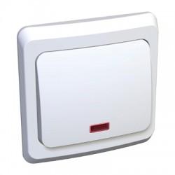 Schneider Electric Переключатель с подсветкой одноклавишный белый Этюд