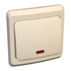 Schneider Electric Нажимная кнопка с подсветкой одноклавишная кремовый Этюд