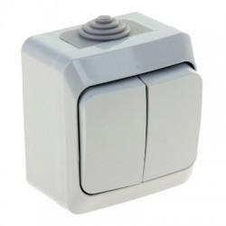 Schneider Electric Выключатель двухклавишный IP44 серый Этюд