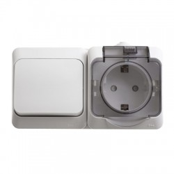 Schneider Electric Блок выключатель и розетка с заземлением со шторками IP44 белый Этюд
