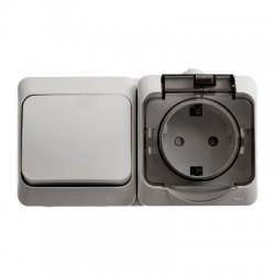 Schneider Electric Блок выключатель и розетка с заземлением со шторками IP44 серый Этюд