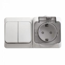 Schneider Electric Блок выключатель двухклавишный и розетка с заземлением со шторками IP44 белый Этюд