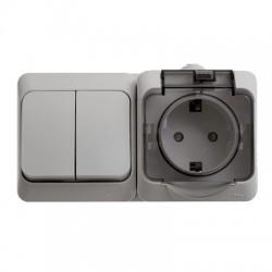 Schneider Electric Блок выключатель двухклавишный и розетка с заземлением со шторками IP44 серый Этюд
