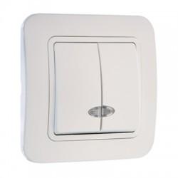 Makel Выключатель двухклавишный с подсветкой белый Lillium