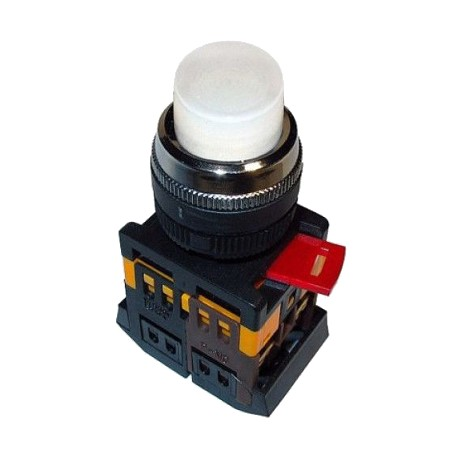 Кнопка IEK ABLFP-22 белый d22 мм 230 В 1з+1р